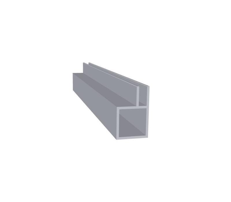Aluminium Koker 20 x 20 x 1,5 mm - 1 Flens 4mm - 60 meter in 6000 mm
