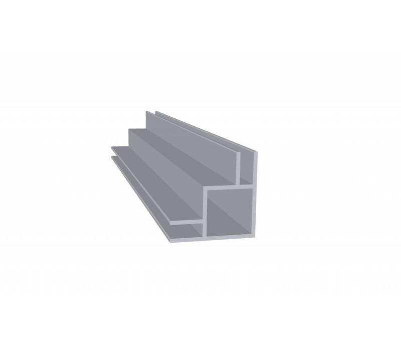 Aluminium Koker 20 x 20 x 1,5 mm - 2 Flens (buitenkant) 4mm - 60 meter in 6000 mm