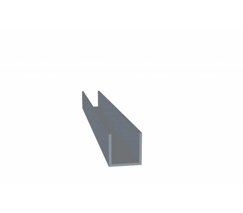 Aluminium Koker 20 x 20 x 20 x 2,0 mm - U Profiel - 15  meter in 3000 mm