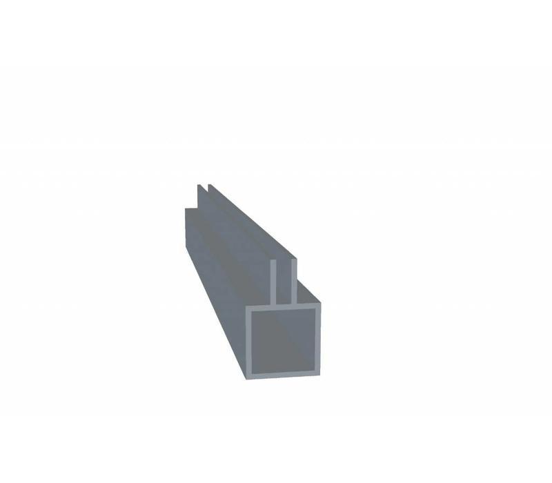 Aluminium Koker 20 x 20 x 1,5 mm - 1 Flens (midden) 3mm - 30 meter in 3000 mm