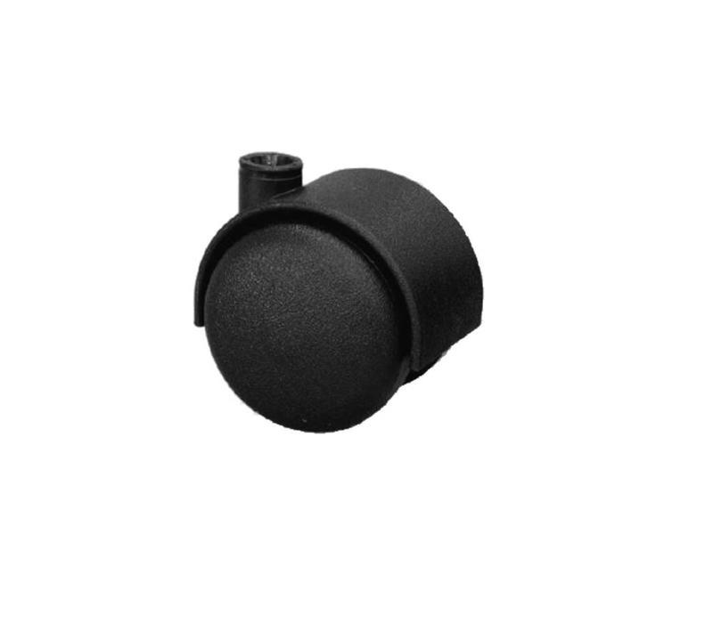 20 x 20 x 1,5mm Meubelwiel zonder rem + SchroefPen - Zwart