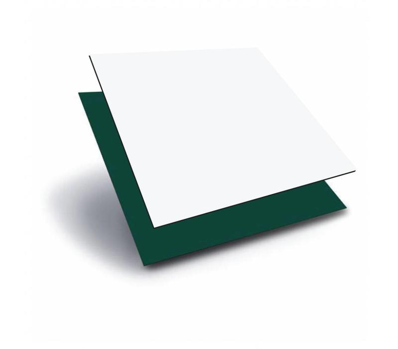 ACP (Aluminium composiet panels) 1220 x 2440 x 3,0mm - Wit (RAL 9010) / Groen (RAL 6009)