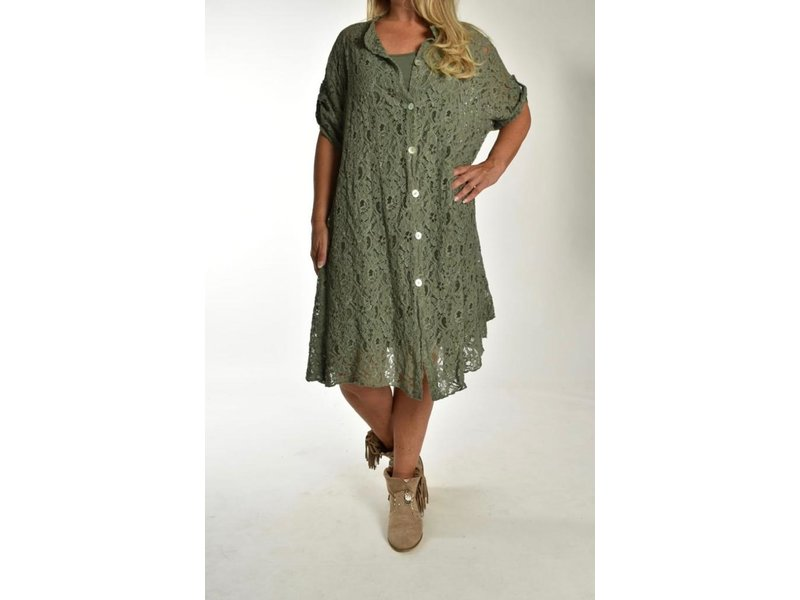 Lange blouse All over the Lace Leger Groen