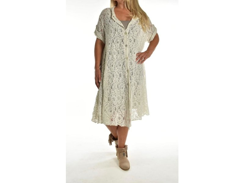 Lange blouse All over the Lace Beige
