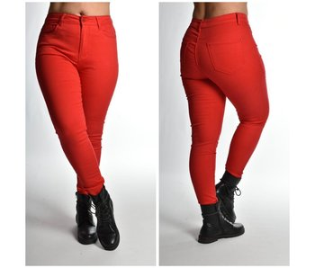 5 Pocket Jeans - grotere maatserie W4992 Rood