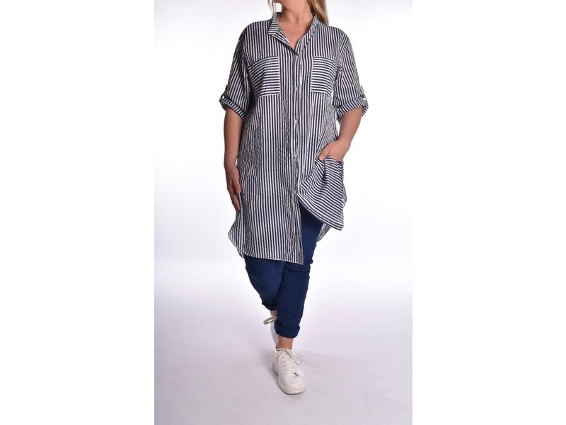 Lange Blouse Claire Donker Blauw