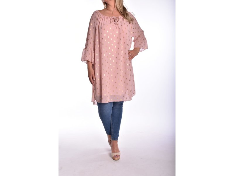 Tuniek touch of gold  - Oud roze
