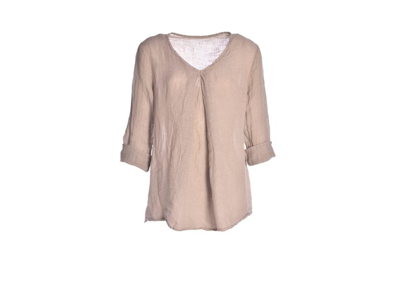 Linnen top - Taupe