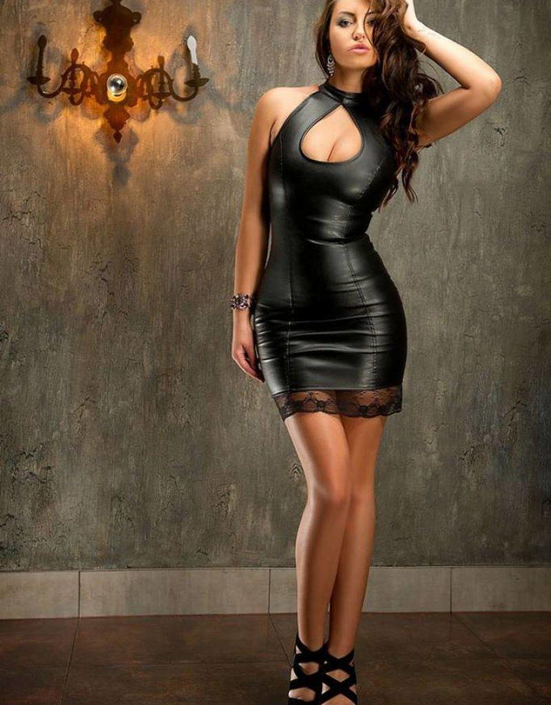Soleil Black Leather Dress