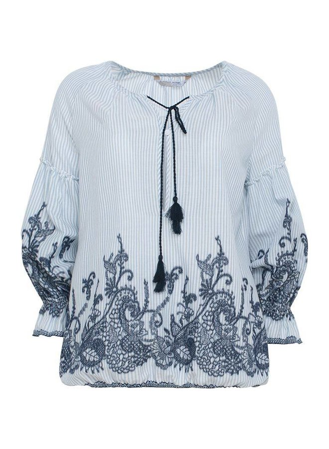 2s2015-10490 429 Summum top long sleeve cotton striped embroidery