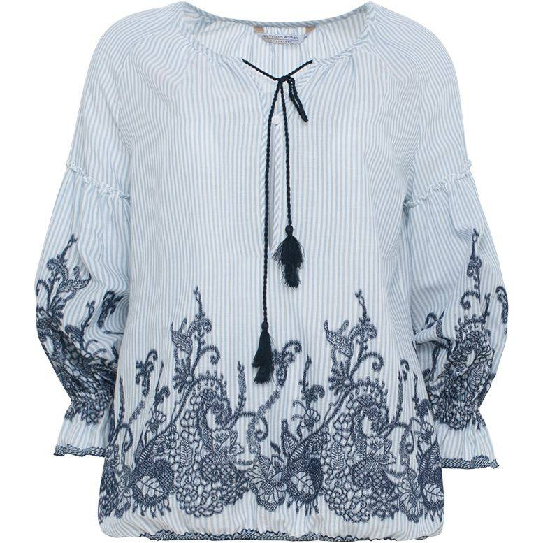 Summum 2s2015-10490 429 Summum top long sleeve cotton striped embroidery