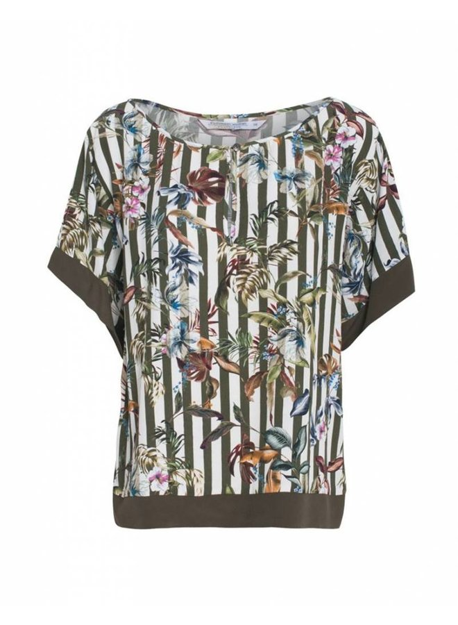 2s1990-10508 120 Summum Women Top short sleeve striped flower print Multicolour