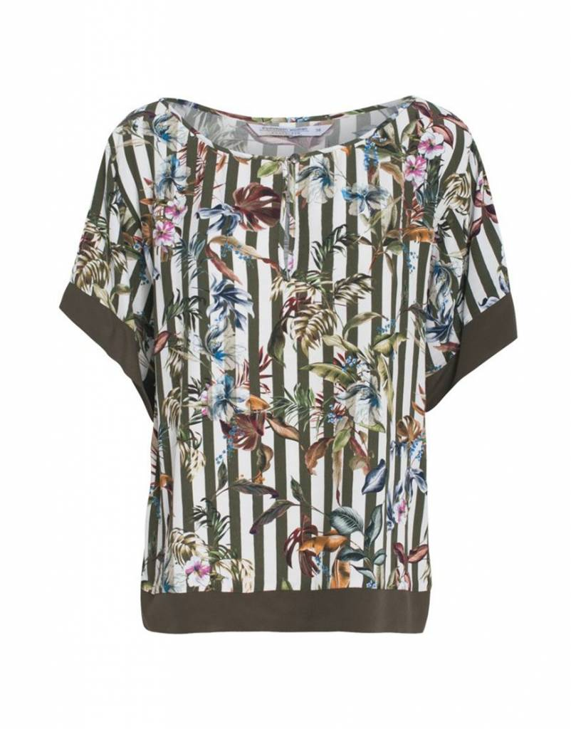 Summum 2s1990-10508 120 Summum Women Top short sleeve striped flower print Multicolour