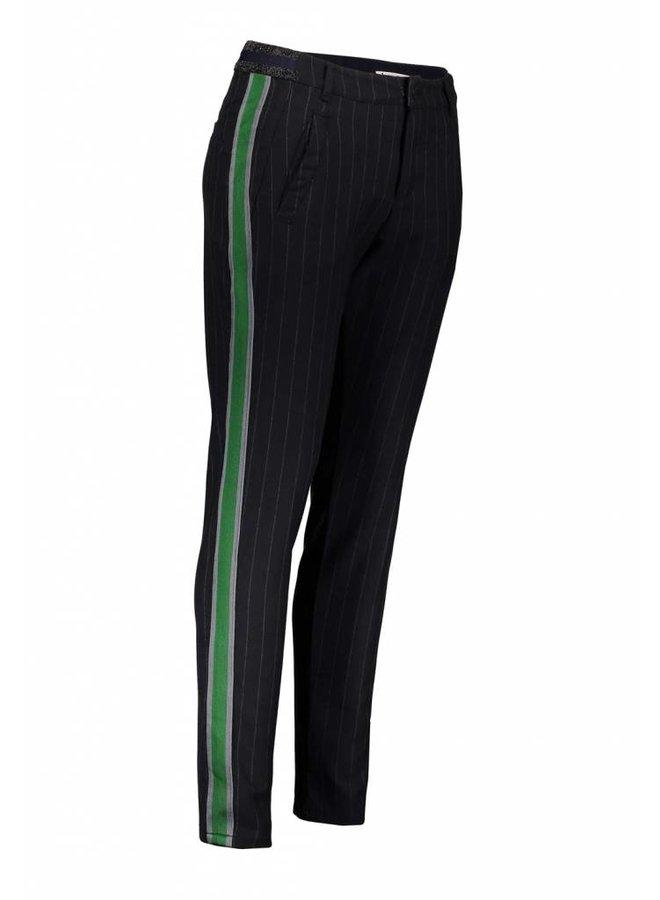 4s1616-10691 491 Summum Women Trousers viscose pin stripe Night blue