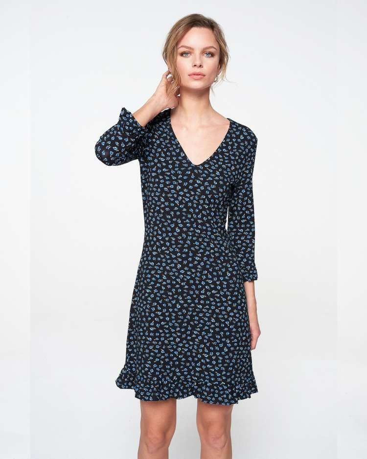 Freebird Freebird 3/4 sleeve ruffle jersey flower mini dress Carson Flower Navy