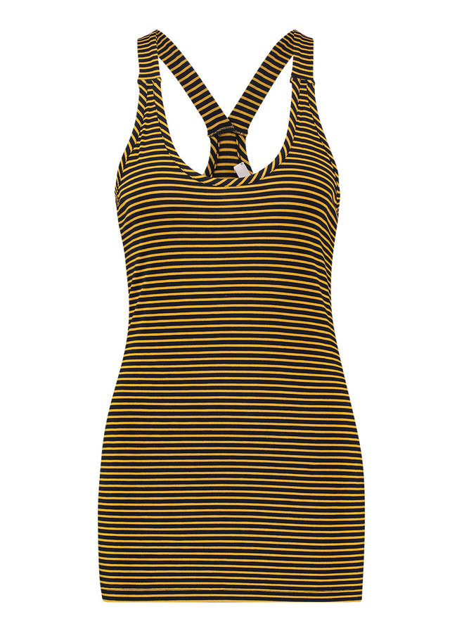 20322 6902 Loes Willow stripe top darkblue/gold