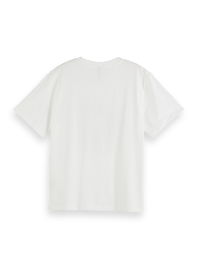 159255 0006 Scotch en Soda Relaxed fit tee with clean artwork White