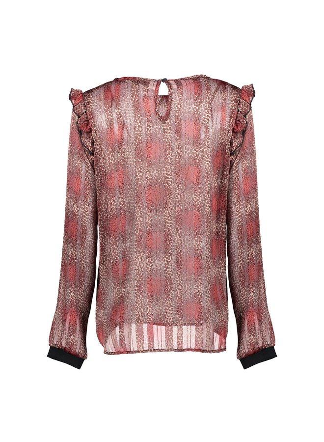 03667-20 710 Geisha Top AOP with lurex and ruffles kit/red combi