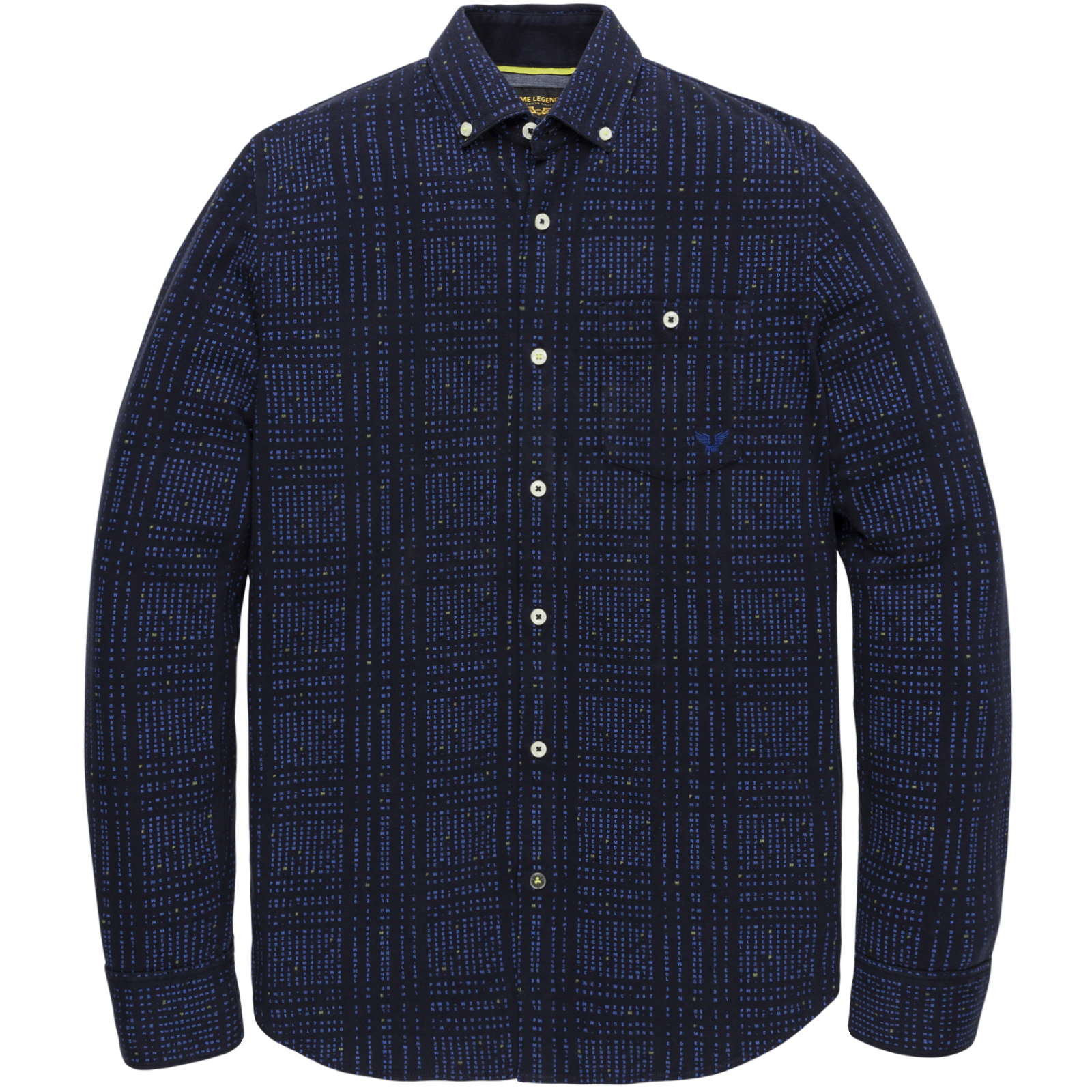 PME Legend PSI206203 5288 PME Legend long sleeve shirt pique with all-over print Blue