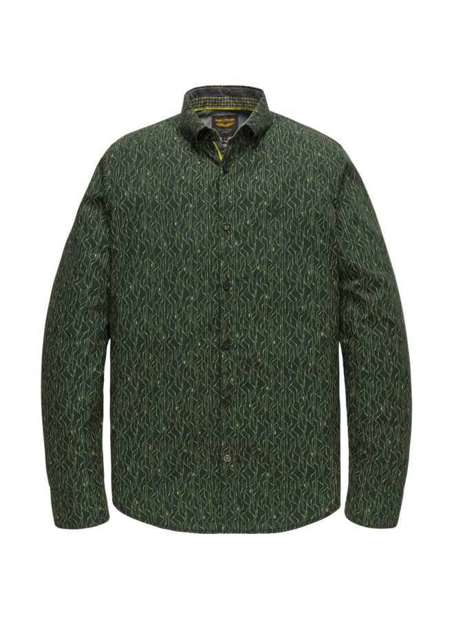 PSI207217 6429 PME Legend long sleeve shirt poplin with all-over print Green