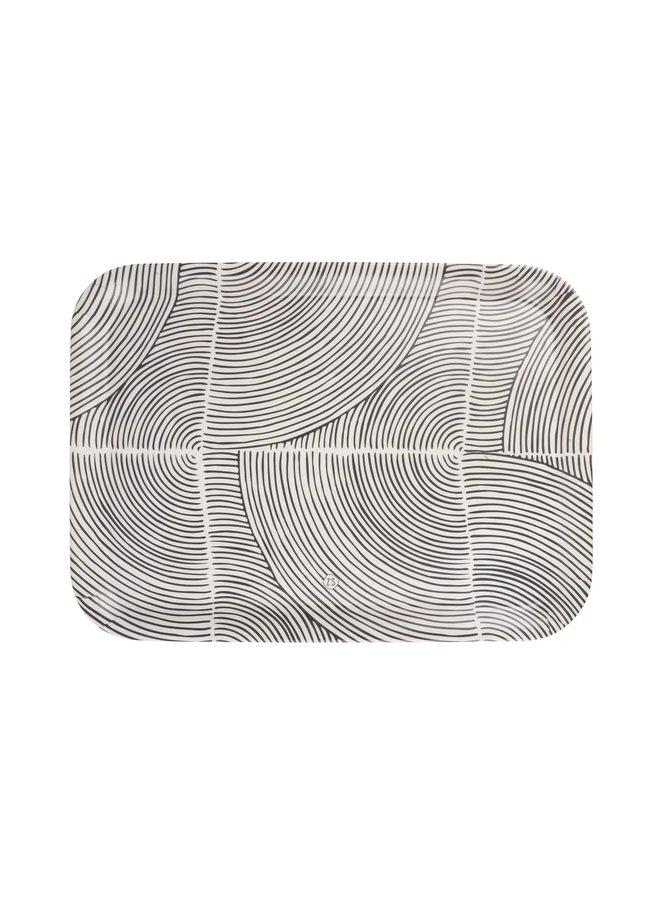 0707-004-0500 Zusss melamine dienblad grafisch patroon 43x32cm zand