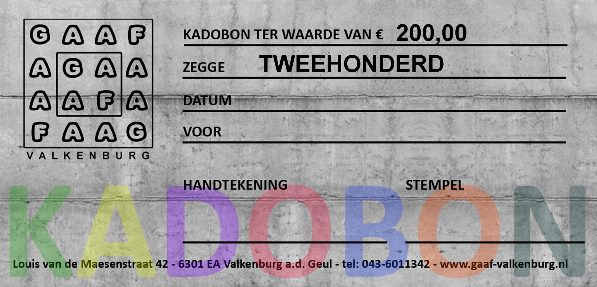 GAAF Kadobon 200 euro