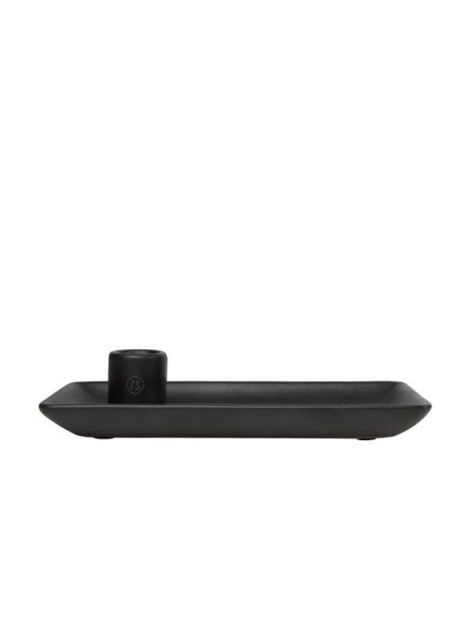 0502-041-0000: Zusss kandelaar met blad keramiek zwart