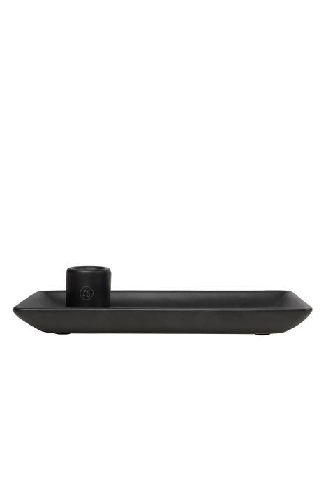 Zusss 0502-041-0000: Zusss kandelaar met blad keramiek zwart