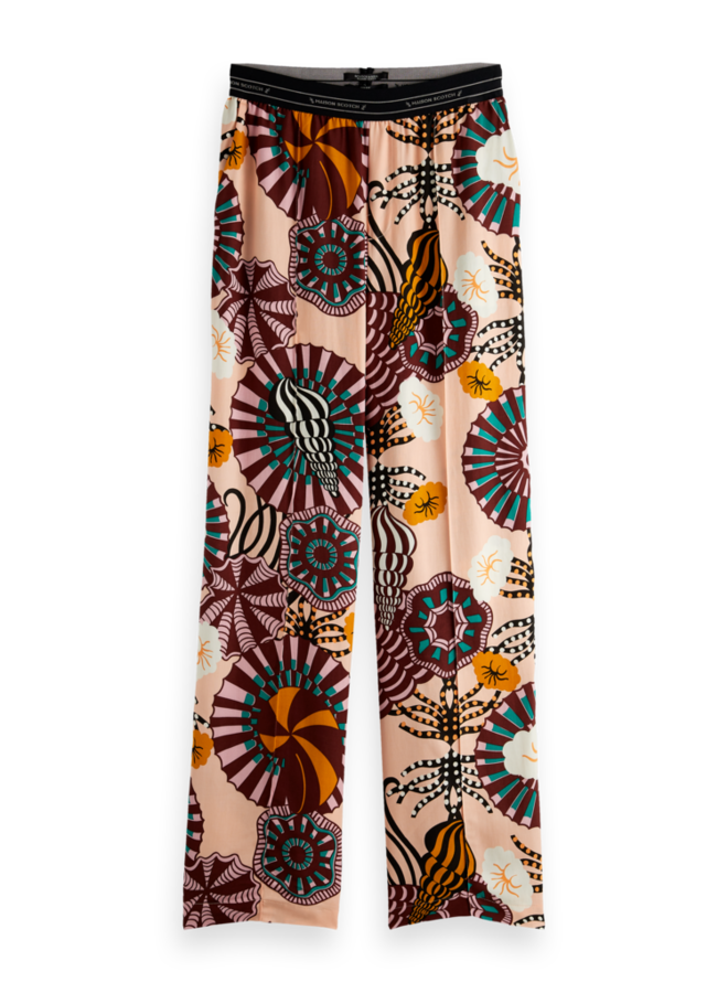 161931 0217 Scotch & Soda Wide leg pant with special elastic waistband Combo A Multicolor