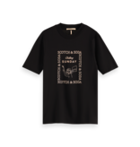 Scotch & Soda 162480 0008 Scotch & Soda Fitted high neck tee with graphic in Tencel blend Black