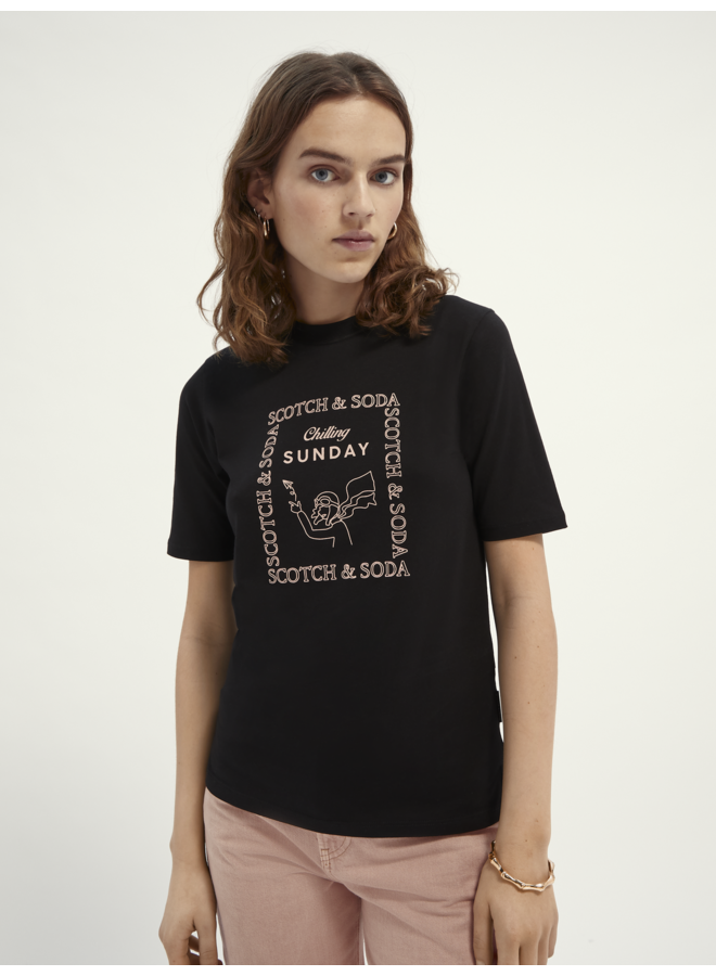 162480 0008 Scotch & Soda Fitted high neck tee with graphic in Tencel blend Black