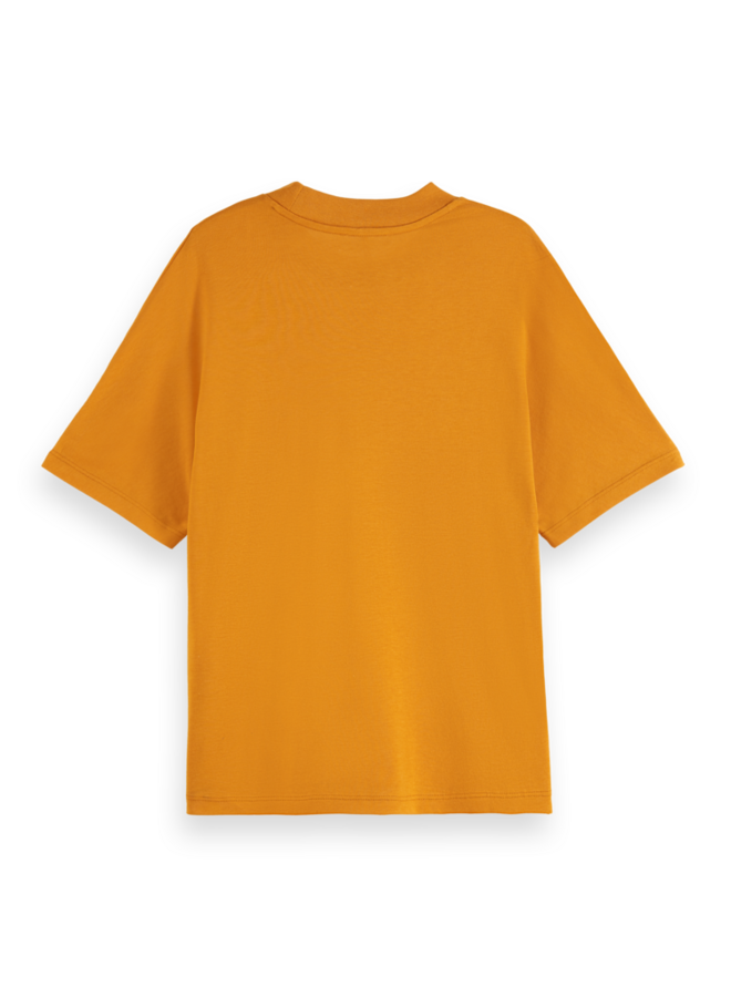 162506 0838 Scotch & Soda Crew neck tee with grown-on sleeves in Tencel blend Sunset Orange