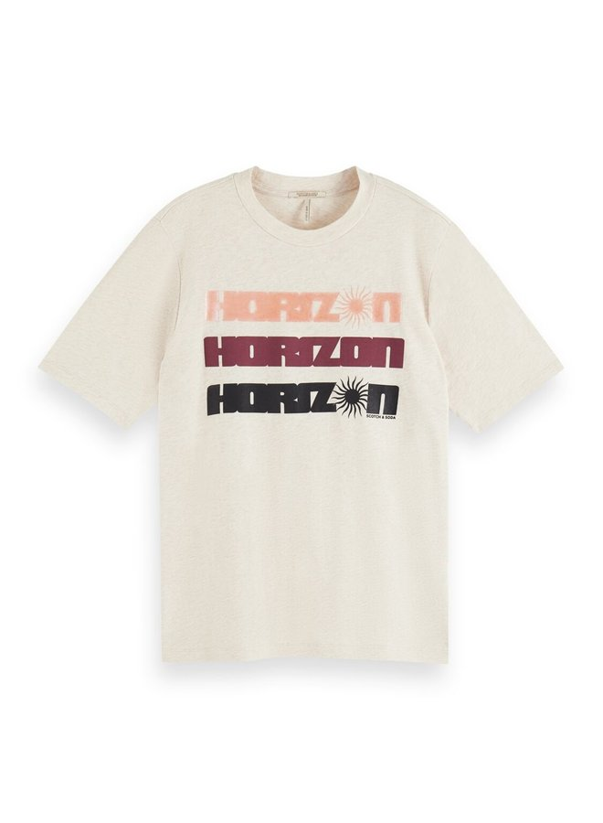 161711 1331 Scotch & Soda Organic cotton relaxed fit tee with graphic Off White Melange