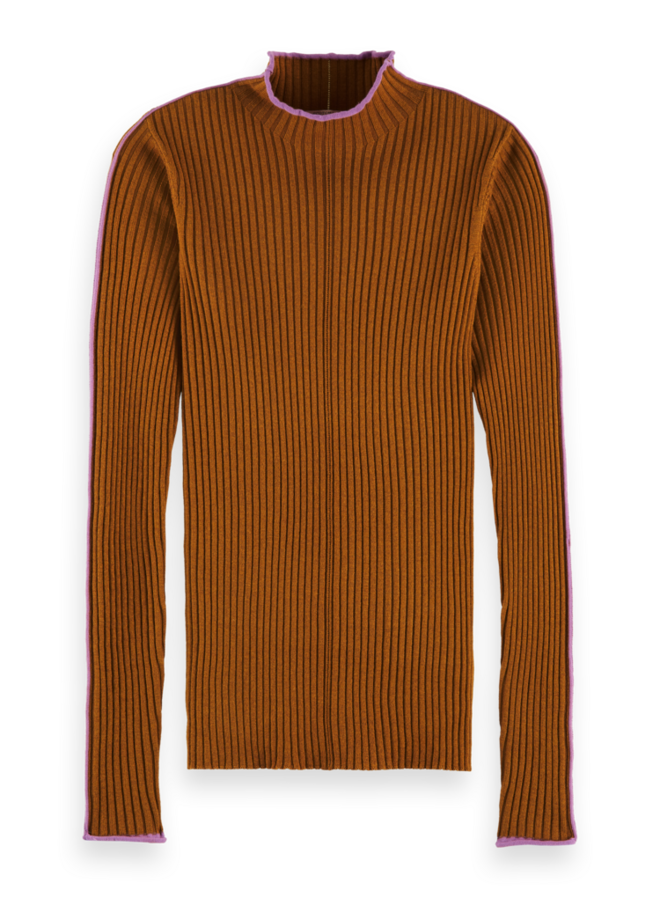 161809 0634 Scotch & Soda High neck rib knit with contrast piping Spice