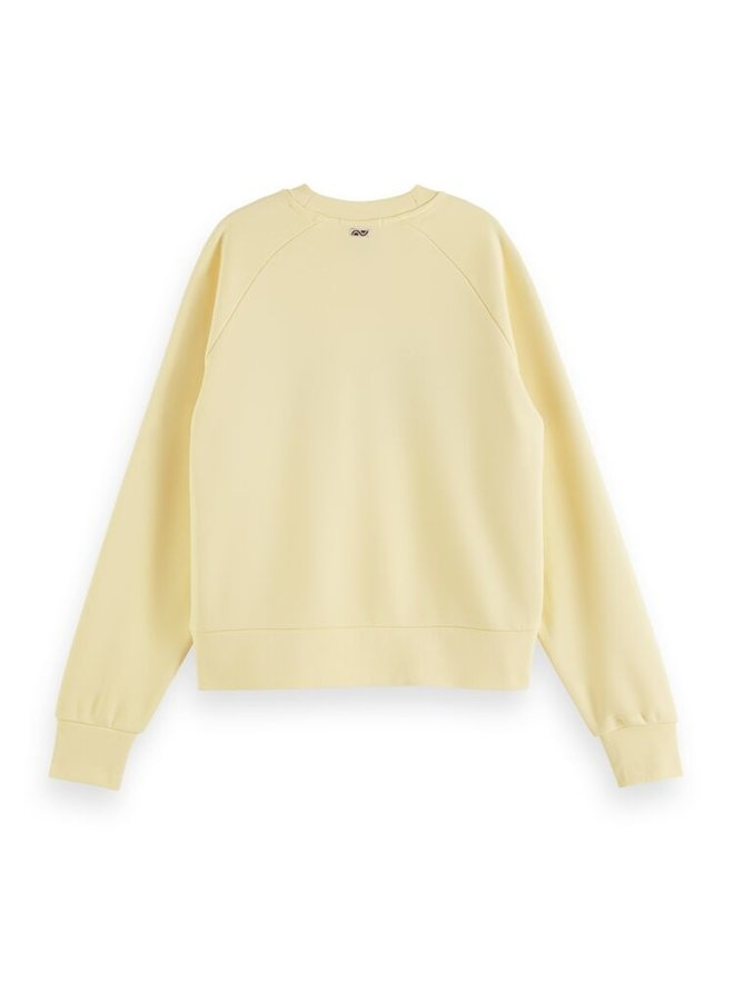 161678 4164 Scotch & Soda Relaxed fit crew neck sweat in organic cotton blend Sunshine Yellow