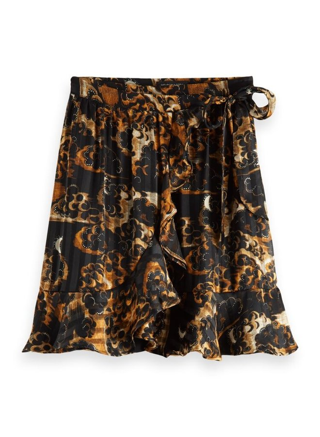 163704 0217 Scotch & Soda Printed wrap-over recycled Polyester mini skirt Combo A