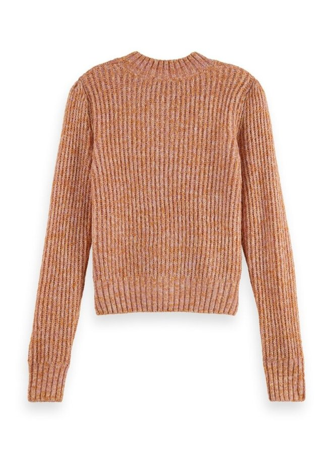 163820 0597 Scotch & Soda Loose fit crewneck pullover with puff sleeves Combo R