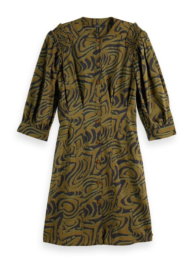 164158 0589 Scotch & Soda Printed fitted button-through dress, contains Ecovero™ Combo J