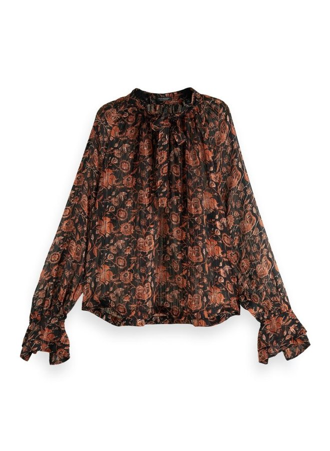 163812 0587 Scotch & Soda Printed sheer recycled Polyester ruffle top Combo H