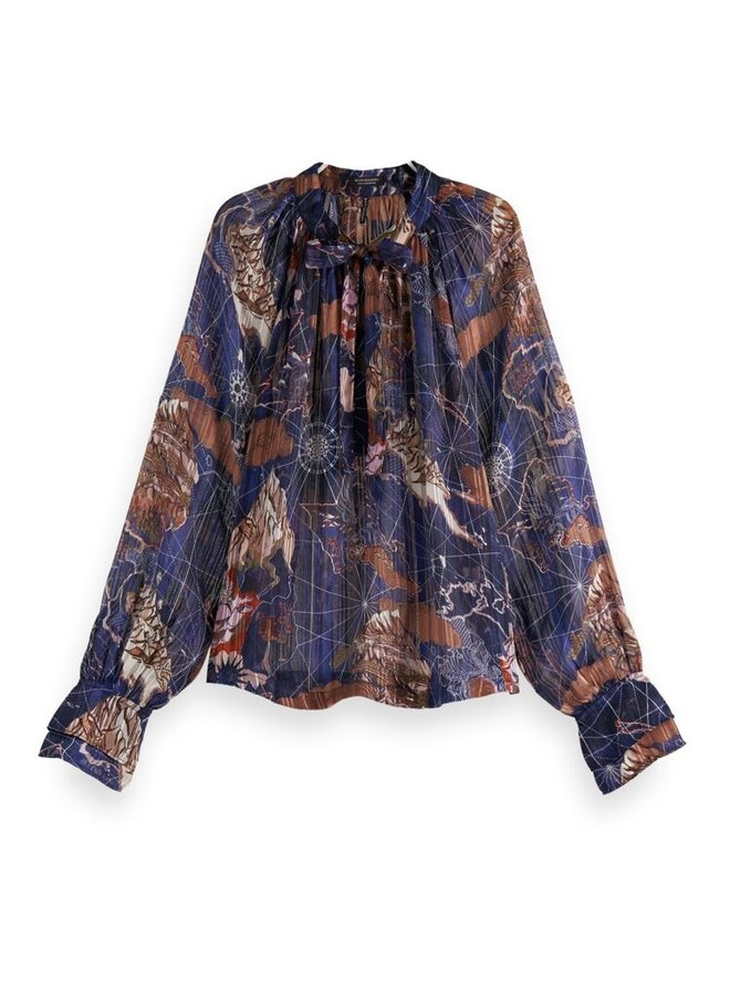 163812 0461 Scotch & Soda Printed sheer recycled Polyester ruffle top Combo G