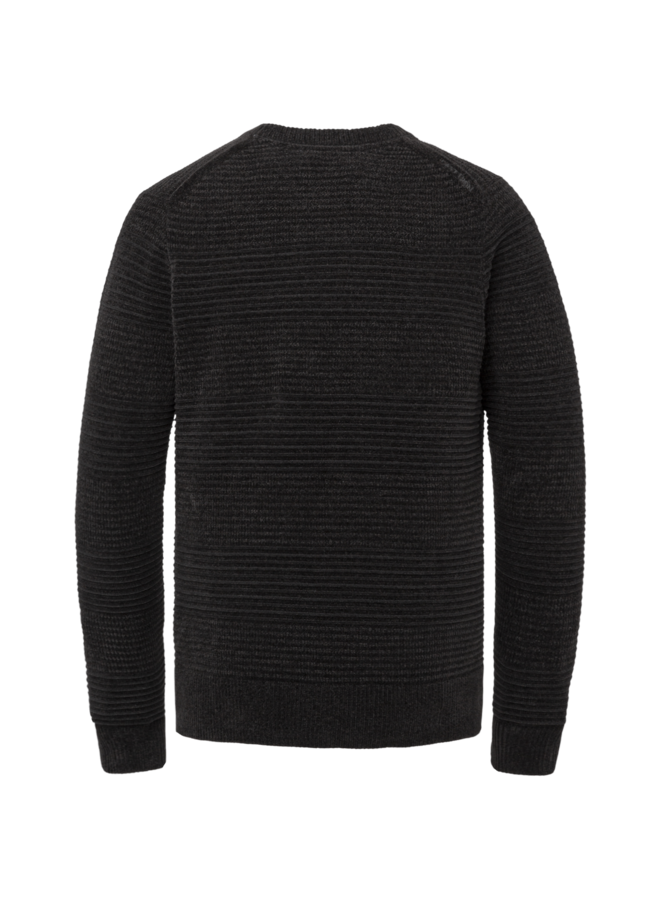 CKW216324 999 Cast Iron R-neck relaxed fit chenille cotton plated Black