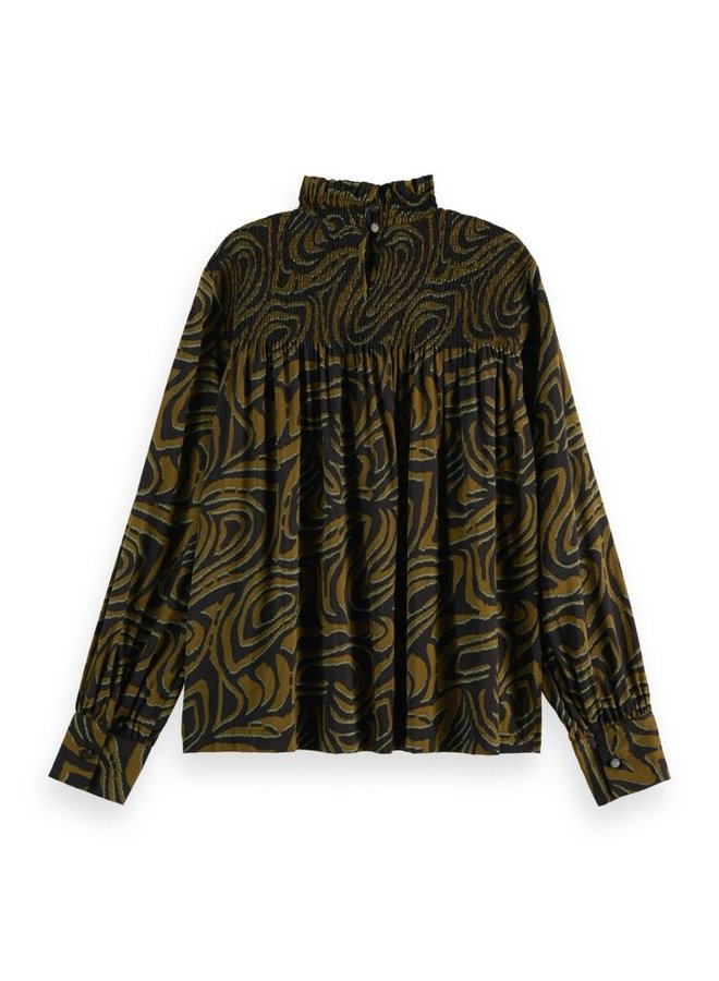 163816 0589 Scotch & Soda Printed smocked top contains Organic Cotton Combo J