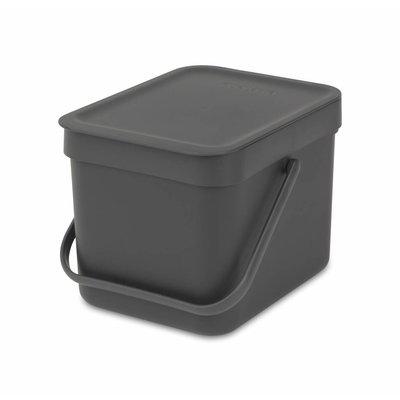 Brabantia Sort&Go afvalemmer - 6 liter - grijs