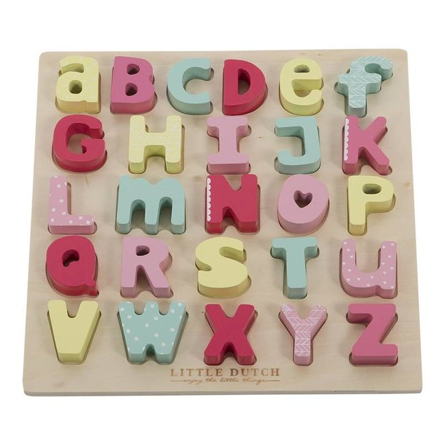 Little Dutch Houten Letterpuzzel Pink | Little Dutch