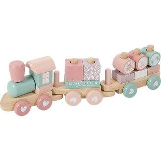 Little Dutch Houten Blokken Trein Roze | Little Dutch