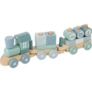 Little Dutch Houten Blokken Trein Blauw | Little Dutch