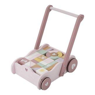 Little Dutch Blokkenkar & Loopwagen Adventure Pink  Little Dutch