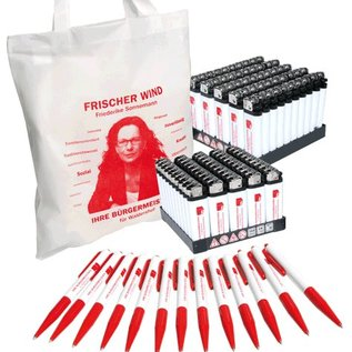 Wahl-Set 2000: Kugelschreiber, Feuerzeuge, Non-Woven-Taschen