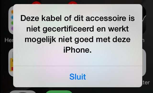Deze kabel of dit accessoire is niet gecertificeerd foutmelding iPad