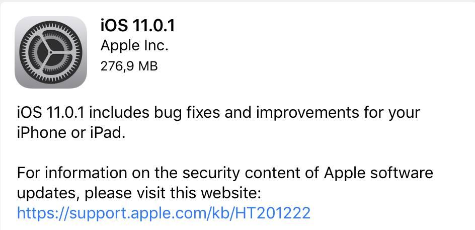 iOS 11.0.1 voor iPad en iPhone nu beschikbaar